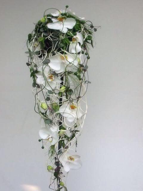 bruidsboeket waterval draad orchidee
