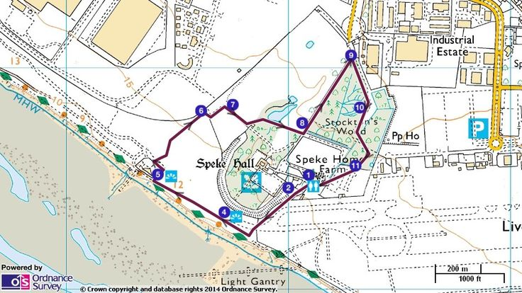 Map route for autumn colours at Speke Hall walk