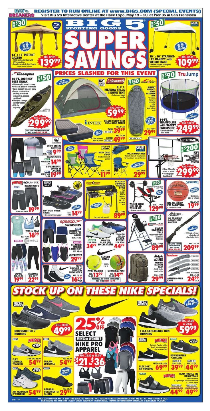 Big 5 Weekly Ad May 7 - 13, 2017 - http://www.olcatalog.com/sports-toys/big-5-weekly-ad.html
