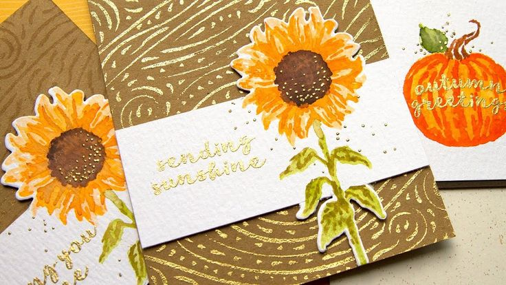 card making video tutorial: Faux Watercolor (Stamp Layering with Markers) by Jennifer McGuire ... sunflower multi-layer stamping ... partial die cutting  ... using glue pen for embossing ... delightful cards ... Hero Arts stamps ...