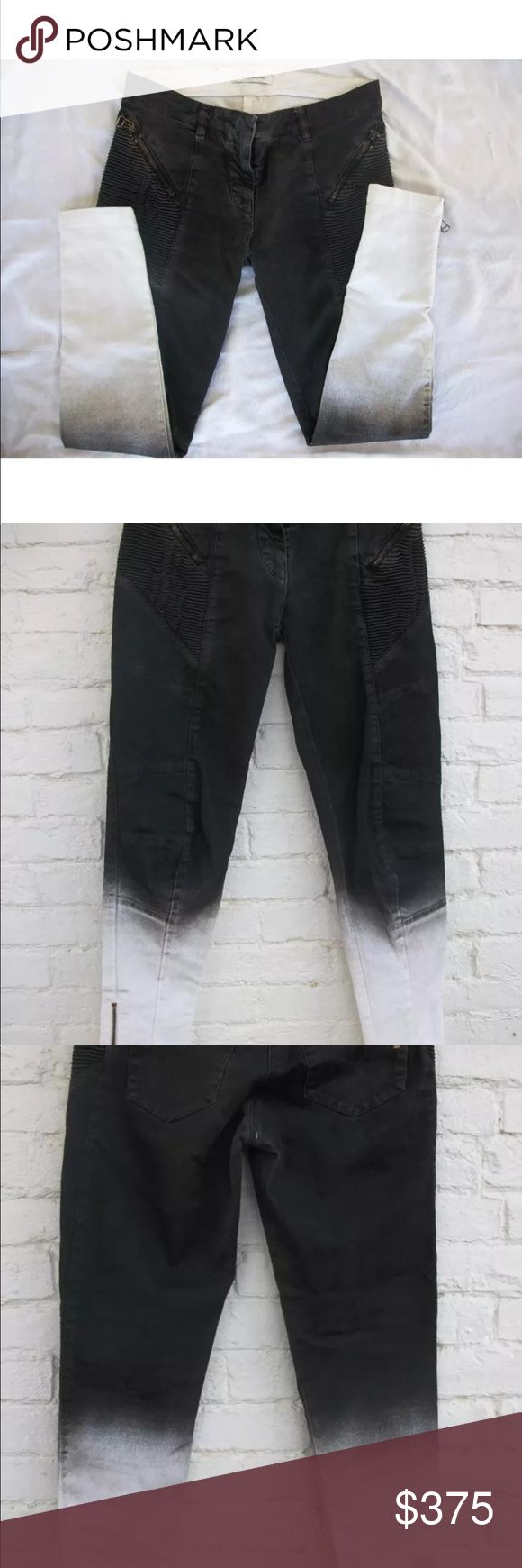 Pierre balmain jeans size 42  black white Balmain Pierre size 42 please look at picture I have measurements these are like new tried on but never worn Pierre Balmain Pants Skinny