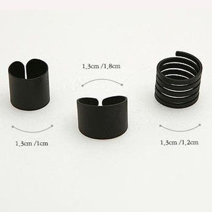 3 Piece Set of Punk Black Knuckle Open Ring