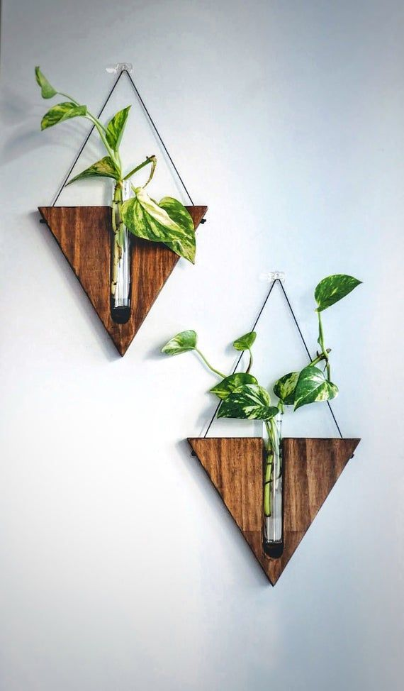 Indoor Wall Planter Wall Decor Handcrafted Decor Timber Vase Wall Hanging Propagation Station Wooden Vase Handcrafted Decor Vase Crafts Wall Planters Indoor