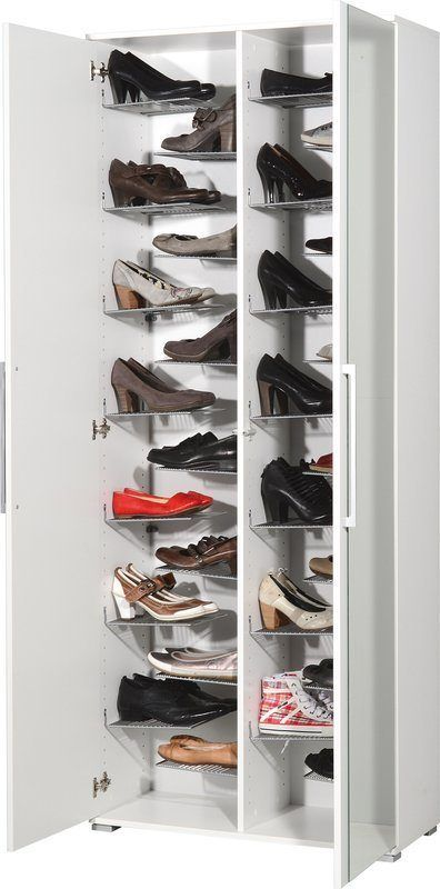Large white shoe cupboard with 2 mirrored doors