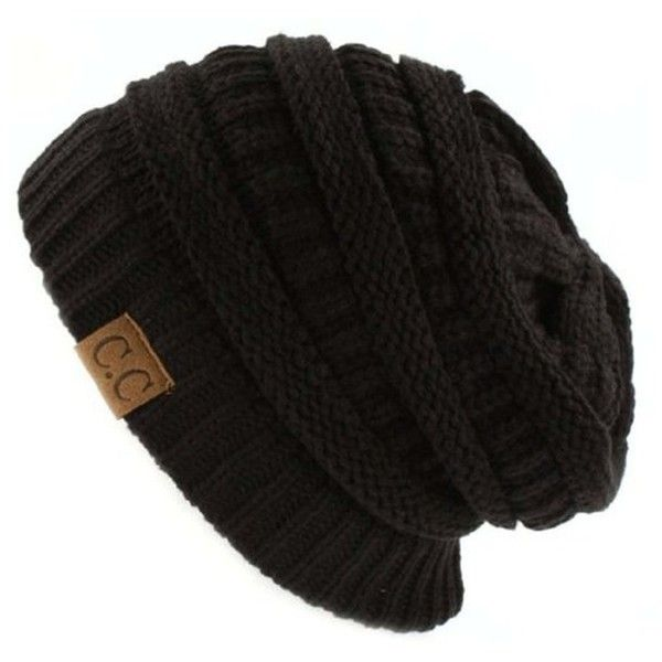 Women's Riverberry Chunky Cable Knit Beanie ($13) ❤ liked on Polyvore featuring hats, accessories, black, slouchy tops, short tops and unisex tops
