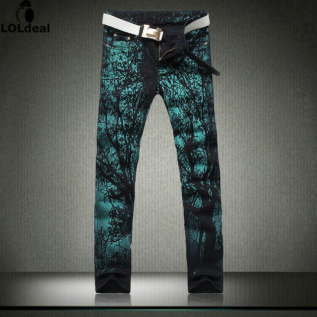 Kühle Mens Gemalt Jeans Clubwear Persönlichkeit mode Jeans Männer Gerade Herren Denim-hosen Herren Gedruckt Jeans (ohne gurt)