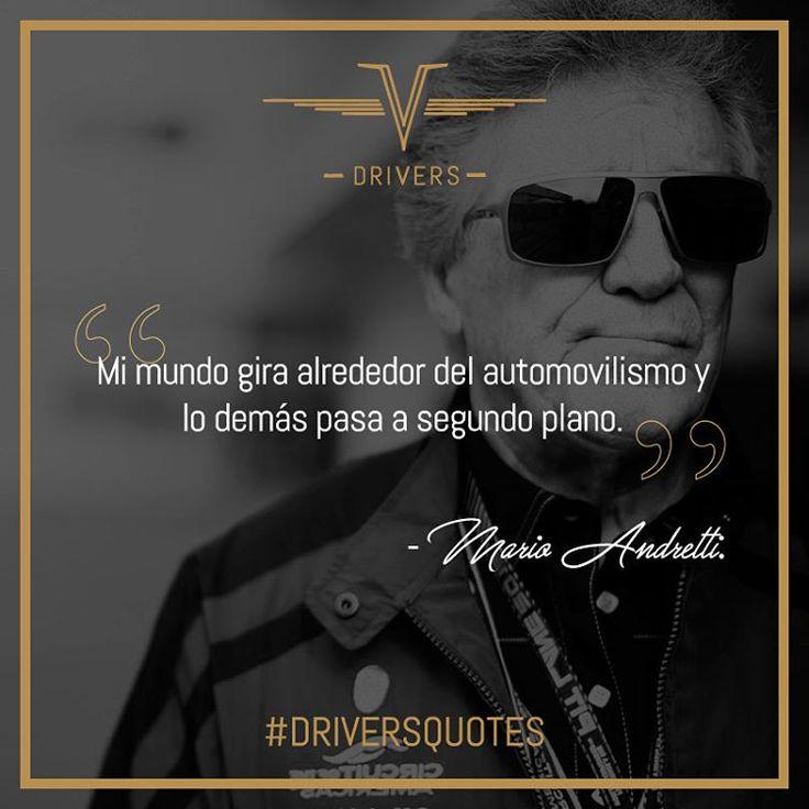 Hoy tenemos en nuestras #DriversQuotes a #MarioAndretti, Campeón Mundial de Fórmula Uno del año 1978.  #Drivers #DriversChile #Cars #Quotes #Fórmula1 #F1 #CarLovers #Miniaturas #AutosAEscala #Herramientas #Limpieza & #Detailing #Santiago #Chile