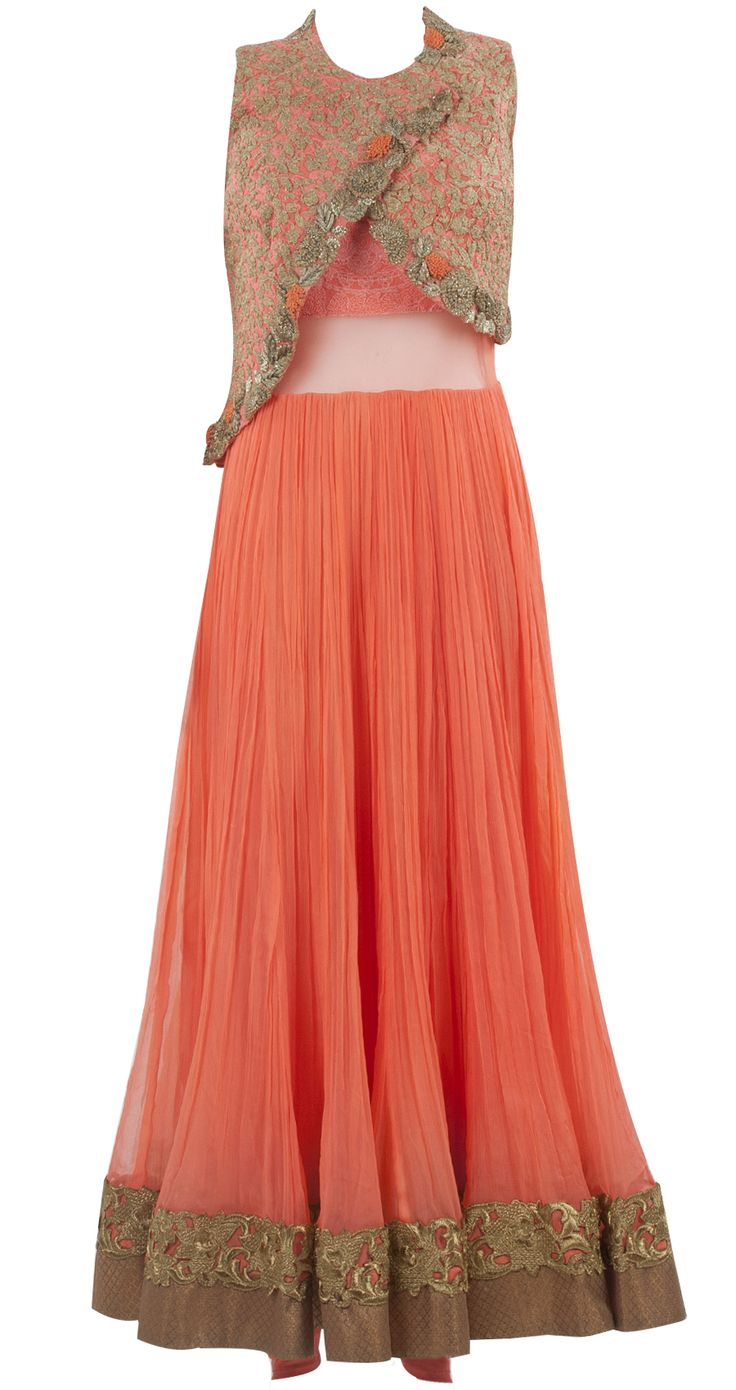 Orange neon anarkali with jacket by RIDHI MEHRA. Shop at https://www.perniaspopupshop.com/whats-new/ridhi-mehra-8
