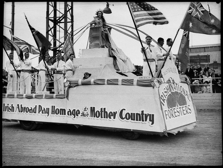 'Irish abroad pay homage to their mother country'. Irish National Foresters float at the St Patrick's Day parade, Sydney, 12 March 1938. Sam Hood Collection, Mitchell Library, State Library of New South Wales: http://www.acmssearch.sl.nsw.gov.au/search/itemDetailPaged.cgi?itemID=22310
