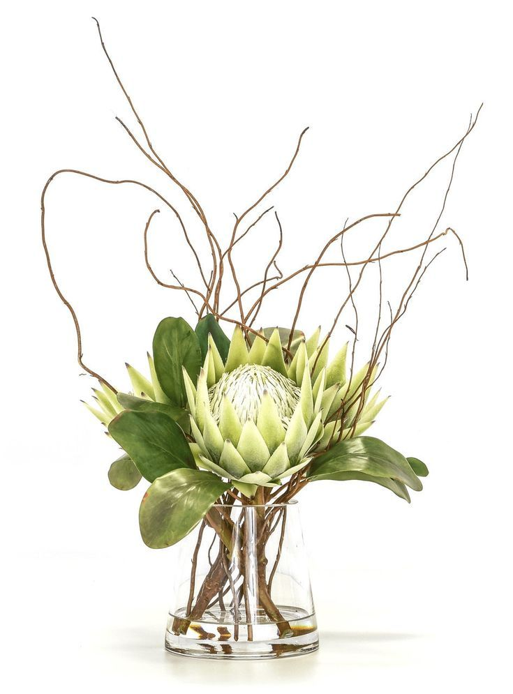 Giant Proteas In Water Small Flower Arrangements Artificial Flower Arrangements Flower Decorations