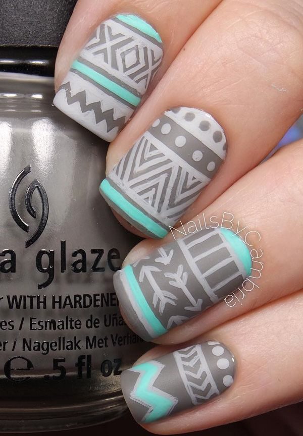Use your darker matte gray nail polish and use it as the base. Then get your matte sea green and matte lighter gray nail polishes and play with various designs and patterns.