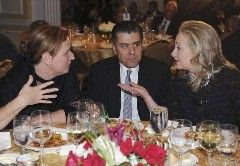 Hillary Clinton at an opulent dinner with Israeli billionaire Haim Saban (center) and Israeli politician Tzipi Livni (left) CREDIT: ReutersAn almost perfect measure of the decay of democratic values …