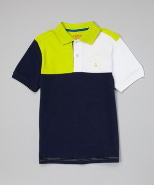 Look what I found on #zulily! Bank Blue & White Color Block Polo - Toddler & Boys by IZOD #zulilyfinds
