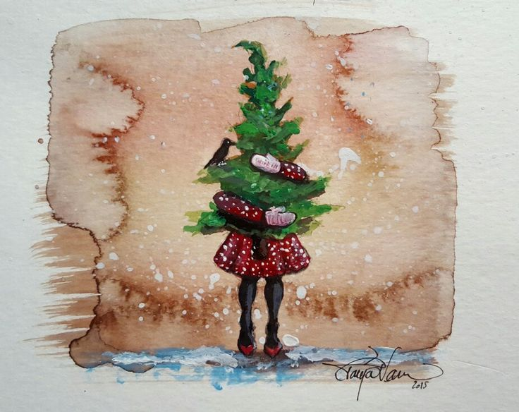 "Tanja Vean: ""A helping friend to guide when eyes can't see""  X-mas watercolor"
