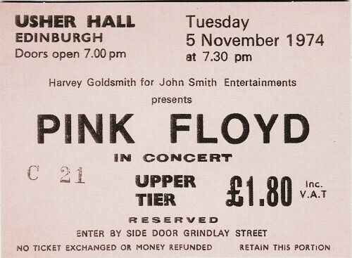 Pink Floyd, ticket, and concert image