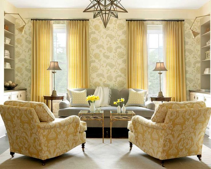 house painting pattern for living room with yellow faux silk inverted pinch pleat curtain panel and grey fabric plose sofa which has saddle arms plus square