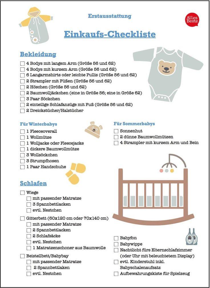 Erstausstattung Einkaufs-Checkliste