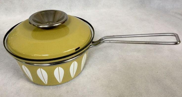 Midcentury 1960s Vintage Cathrineholm Green Lotus Enamelware Saucepan & Lid