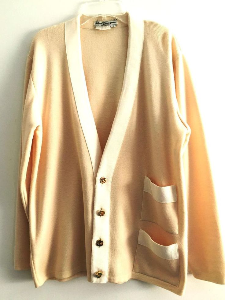 SALVATORE FERRAGAMO sweater jacket ivory designer runway Italy artsy couture M #SalvatoreFerragamo #BasicJacket #Evening