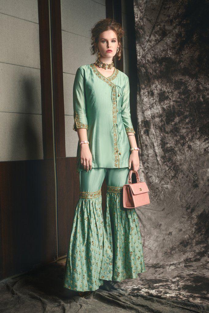 5f25f11ba6 Box Pleat Sharara dress Cotton Silk top with bead and stonework in golden  shadow, ankara design short top worn over hand block printed sharara.