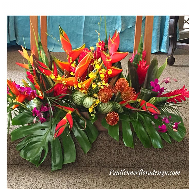 Oversize tropical arrangement was used at a memorial service. Originally designed for a table top it was placed below the lectern. Loved the colors and amazing impact an arrangement this size makes! #paulfennerfloraldesign #memorialflowers #funeralflowers #flowerstagram #tropicalflowers #flowers