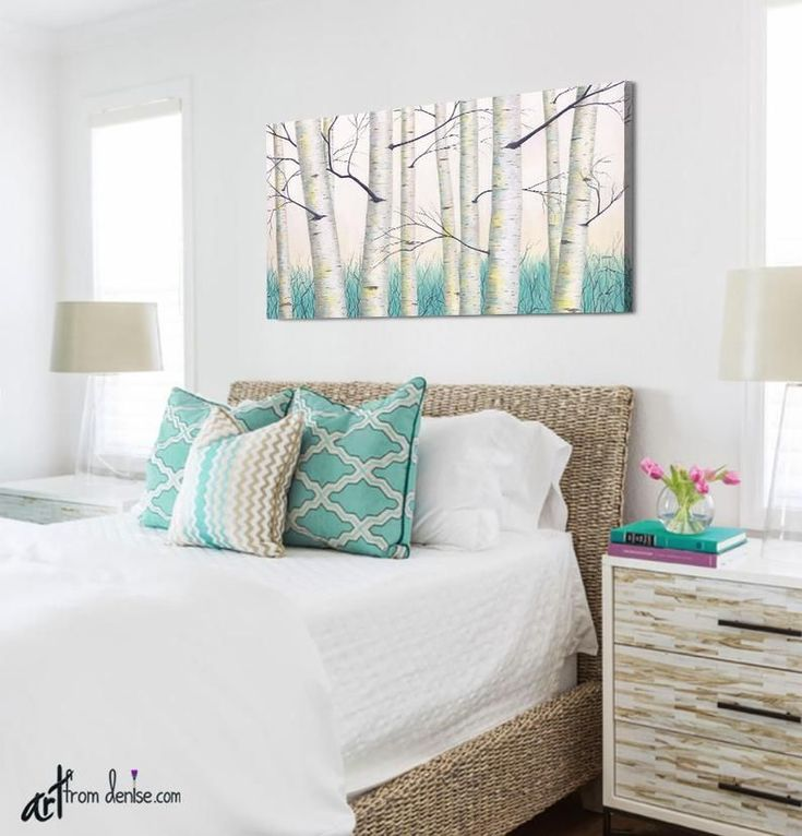 Aspen tree landscape painting aqua teal yellow gray and