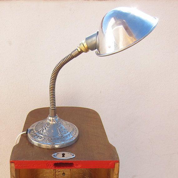 VERY RARE art deco gooseneck lamp from 1940s, See the details, Art deco children's lamp