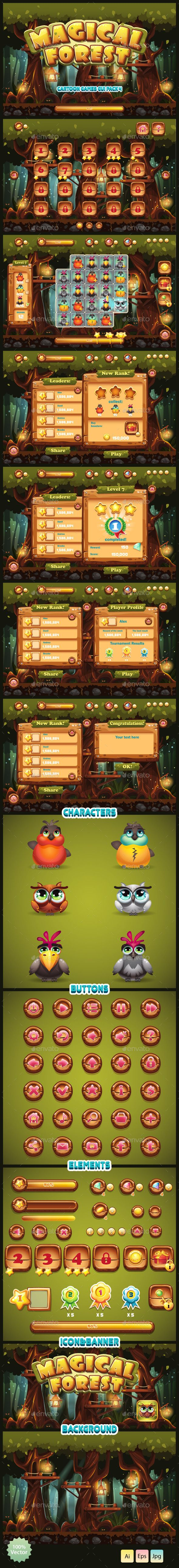 GUI Magical Forest - Game #Kits #Game #Assets | Download http://graphicriver.net/item/gui-magical-forest/10199651?ref=sinzo