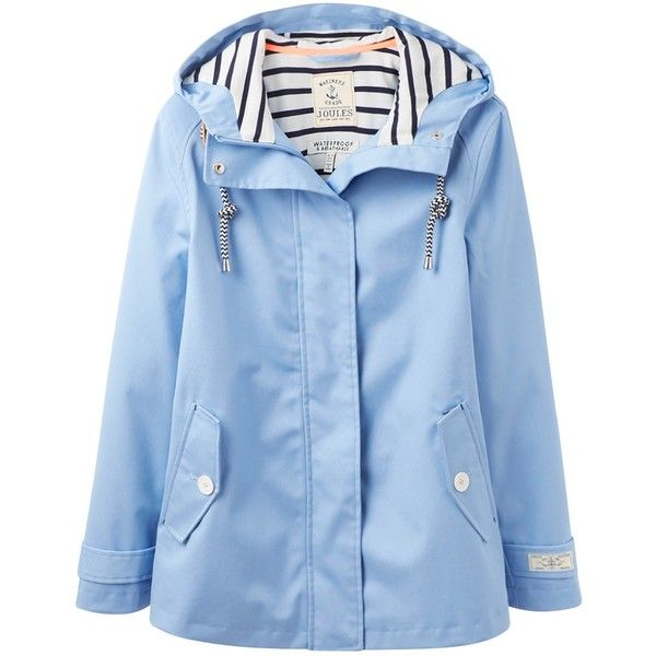 Joules Right as Rain Coast Waterproof Jacket, Haze Blue ($115) ❤ liked on Polyvore featuring outerwear, jackets, long sleeve jacket, blue jersey, lined hooded jacket, waterproof hooded jacket and water resistant hooded jacket