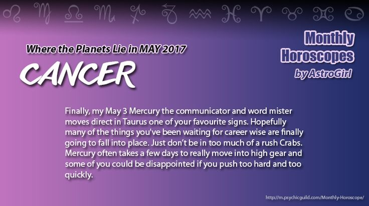 #CANCER #MonthlyHoroscope overview: Finally, my May 3 Mercury the communicator and word mister moves direct in Taurus one of your favourite signs. Hopefully many of the things you've been waiting for career wise are finally going to fall into place. Just don't be in too much of a rush Crabs. Mercury often takes a few days to really move into high gear and some of you could be disappointed if you push too hard and too quickly.