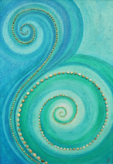 Turquoise and sea-green swirls