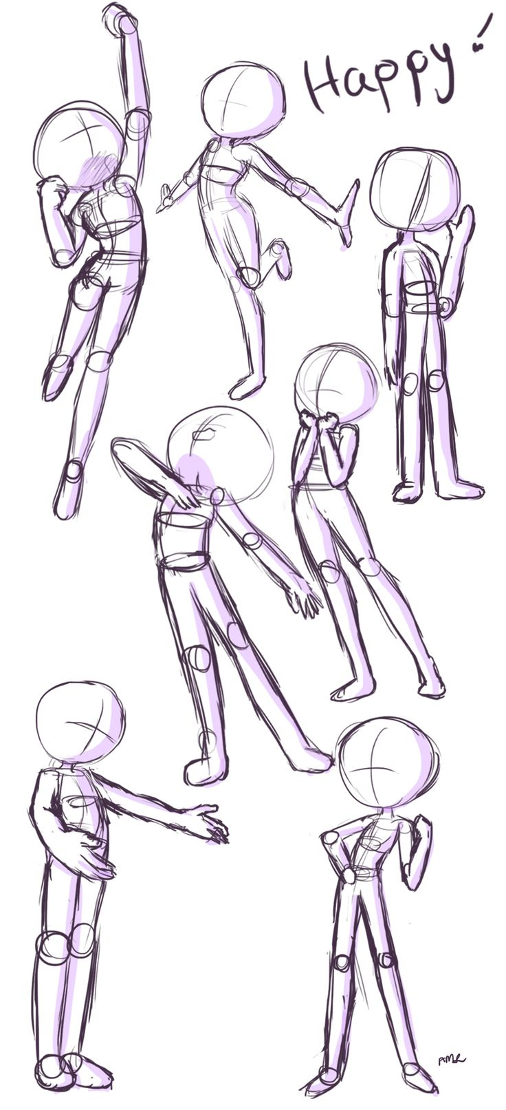 Quick reference page for happy/friendly standing poses! For more poses and explanations, visit the video linked to this pin! (Drawn by Starla's Art Studio YT)