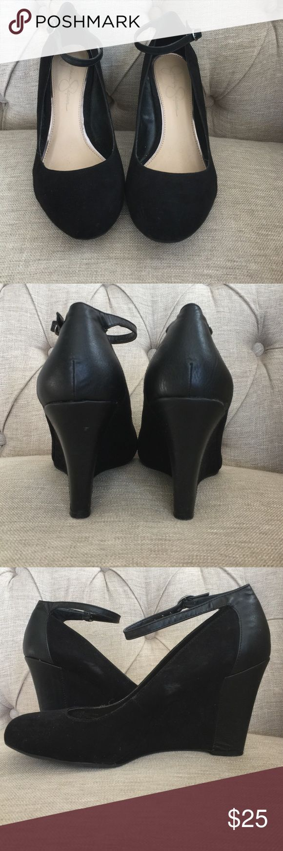 BLACK WEDGE PUMPS Jessica Simpson pumps. Velvet and leather combo. Very classy! Jessica Simpson Shoes Wedges
