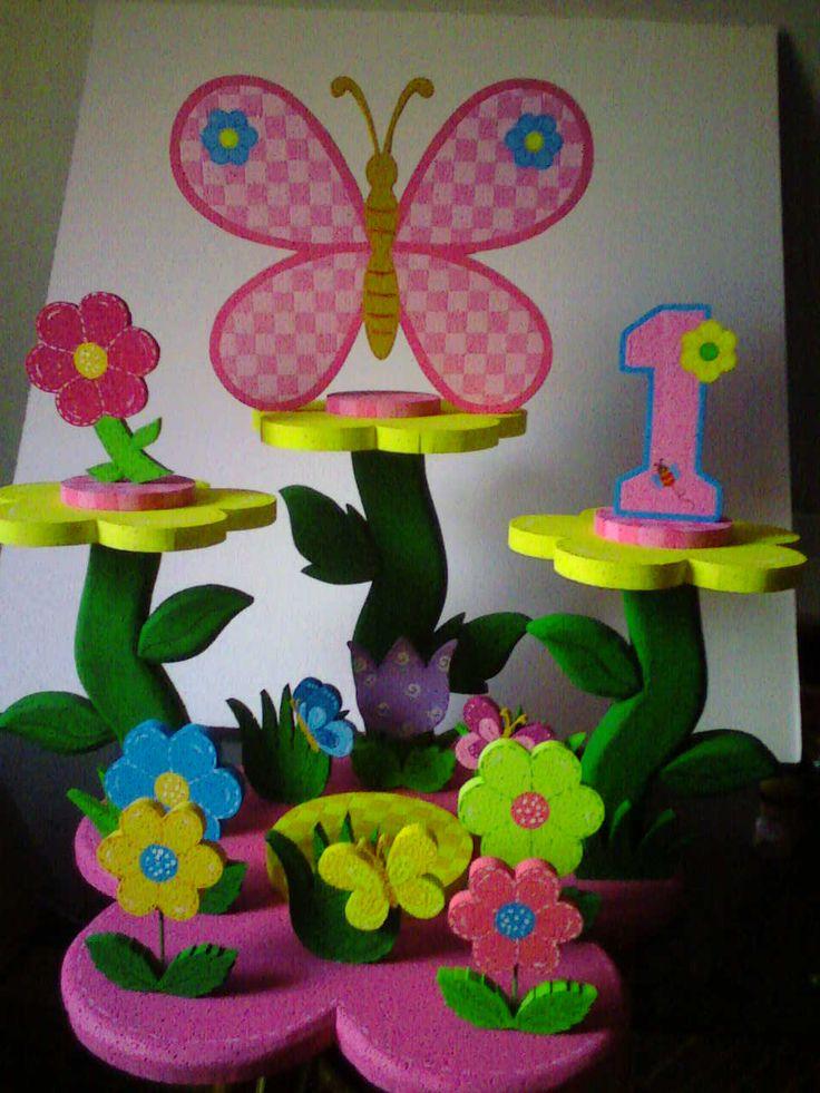 """Chupetera para fiesta """"flores y mariposas"""""""