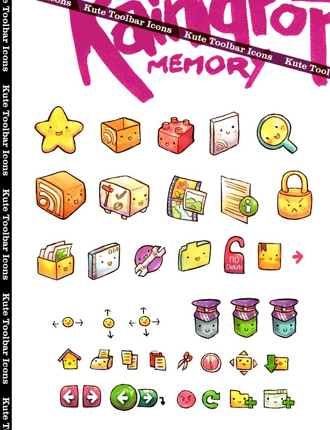 RM Kute Toolbar Icons by ~Raindropmemory on deviantART