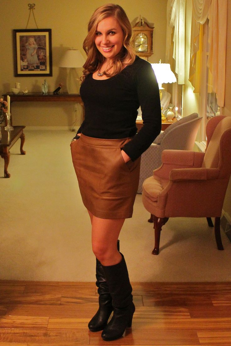 What To Wear With A Tan Leather Skirt | Jill Dress