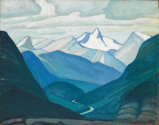 Lawren Harris - Yoho Valley and Isolation Peak Mountain Sketch XLV 12 x 15 Oil on board (1928)