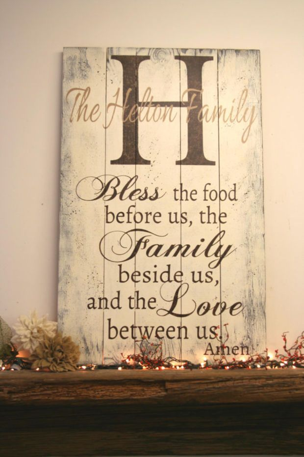 Bless The Food Before Us Pallet Sign Name Sign Personalized Name Sign  Dining Room Sign Rustic