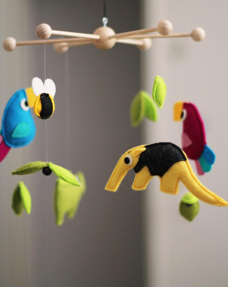 """baby mobile """"the rainforest"""" - 100% wool felt. €56,00, via Etsy."""