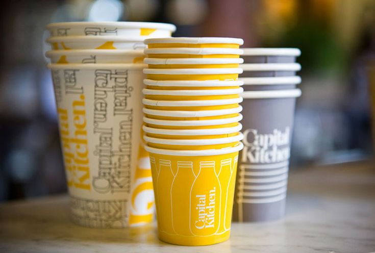 Capital Kitchen's cute cups coordinate with their interior. I love how they were bold enough to embrace the color yellow.