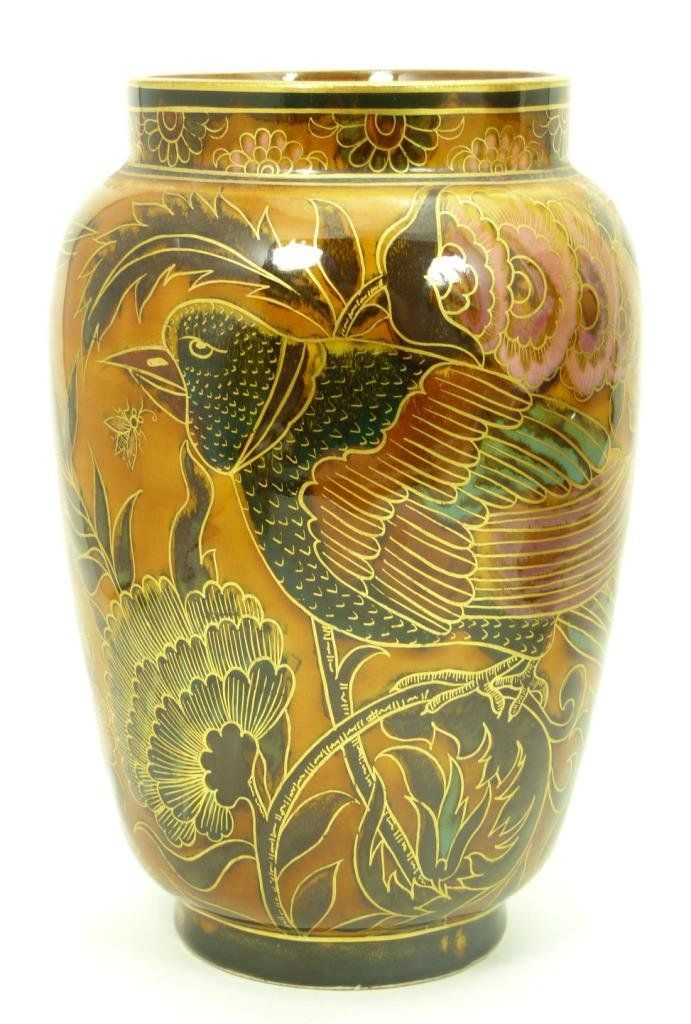 "ZSOLNAY ORIENTALIST RARE VASE Late 19th early 20th century Zsolnay pecs porcelain vase. Stands 7-3/4"" tall (19.77cm). Depicting a peacock with floral design on molten brown ground. Signed to base with the Zsolnay.14/L2eU"