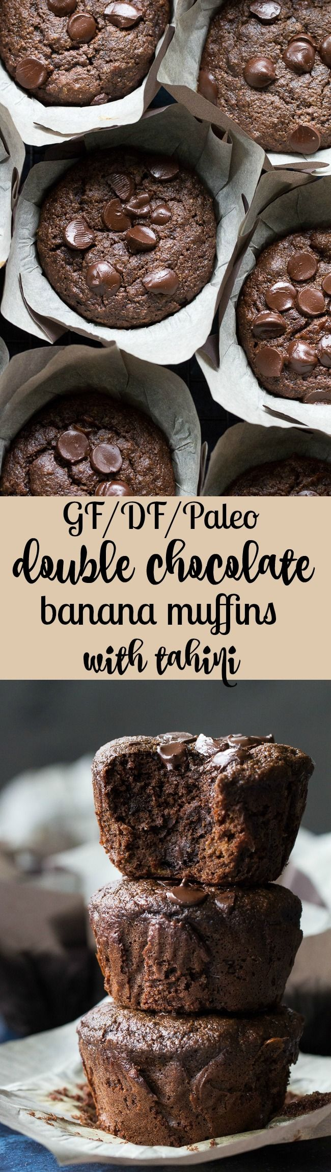 Extra rich yet super healthy double chocolate banana muffins made with tahini for a nutty flavor and moist, cake-like texture. They're gluten free, grain free, dairy free and Paleo and even kid friendly! Have one for breakfast, an afternoon snack, or anytime you need a chocolate fix.