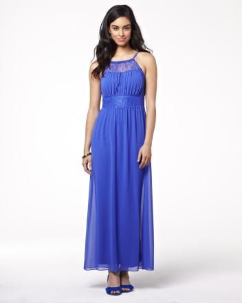 Chiffon maxi dress with lace - comes in pink