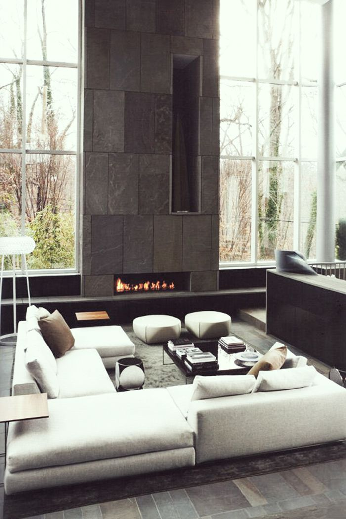 #Living #Fireplace - Pinned onto ★ #Webinfusion>Home ★ HAMILTON Everywhere – Minotti