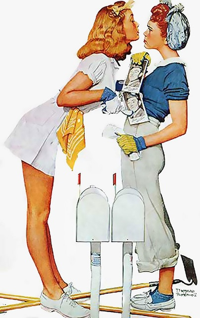 """Fighting Over Willie"" ~ WWII era illustration by Norman Rockwell of two girls arguing over their 'shared' soldier boy, ca. 1940s."