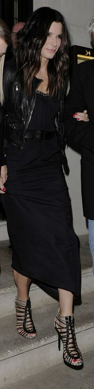 Sandra Bullock: Jacket – AllSaints  Dress – Victoria Beckham Collection  Shoes – L.A.M.B.