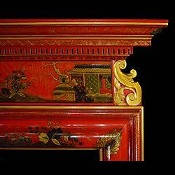 An early 19th century Neo Classical Chinoiserie red lacquered chimneypiece in the early Georgian manner