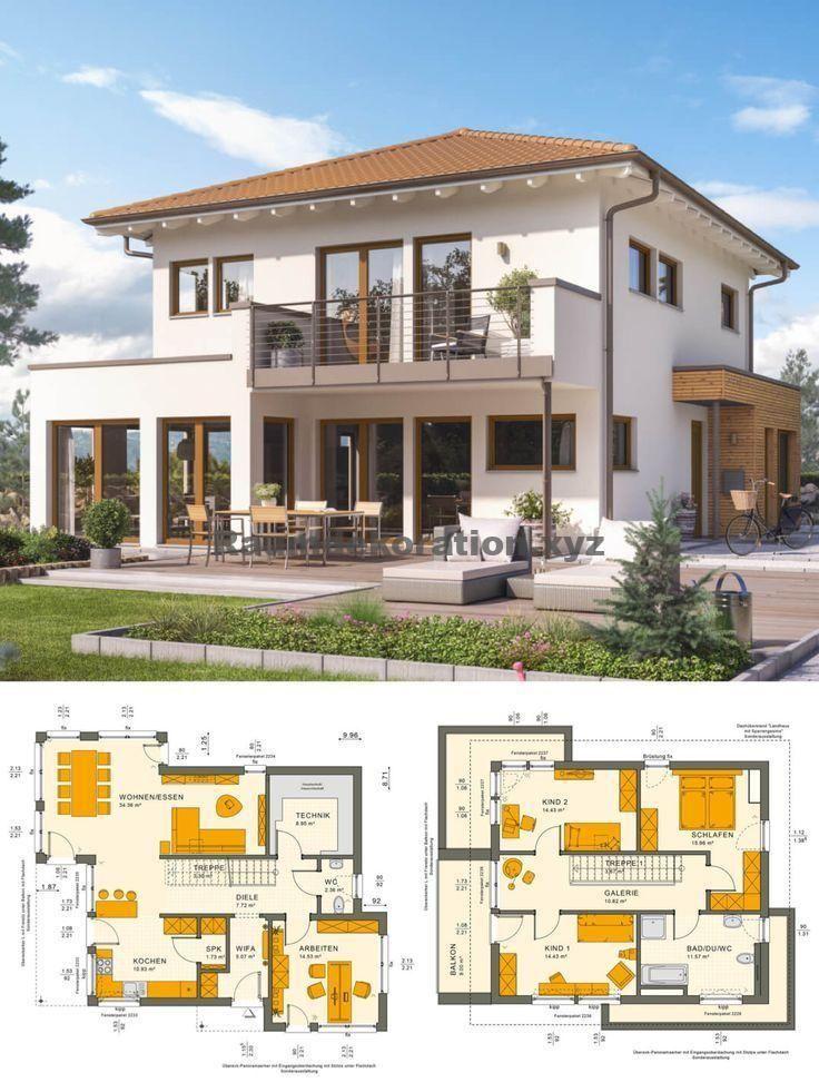 Architektur Ideen – Stadtvilla Neubau mediterran im Landhausstil mit Walmdach Architektur & Galerie – Einfamilienhaus bauen Ideen Grundriss Fertighaus Sunshine 144 V6 Living Haus – HausbauDirekt.de