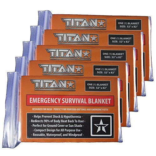 TITAN Two-Sided Mylar Emergency Survival Space Blankets, 5-Pack   Safety-Orange (27-000002). For product & price info go to:  https://all4hiking.com/products/titan-two-sided-mylar-emergency-survival-space-blankets-5-pack-safety-orange-27-000002/