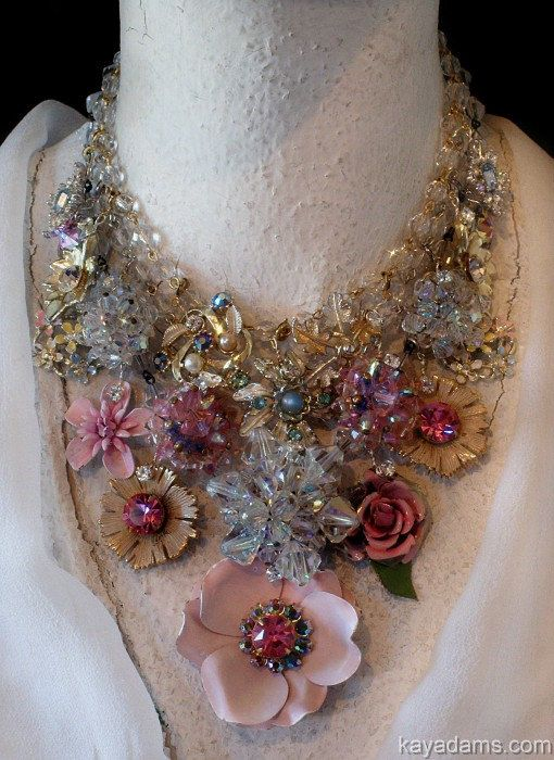 Pink Fantasy Wedding Necklace.  YUM.  Send Me YouR DeSTasH. Payment for a Kay Adams Custom Necklace w/ YouR Pieces. YUMM again... $250.00, via Etsy.
